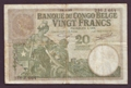 London Coins : A130 : Lot 321 : Belgian Congo 20 francs dated 15.9.37 serial 236.J.664, Elephant watermark, Pick10f without ...