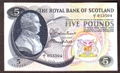 London Coins : A130 : Lot 425 : Scotland Royal Bank £5 dated 1st November 1966, David Dale, first run prefix J/1, ...