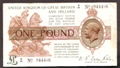 London Coins : A130 : Lot 92 : Treasury one pound Warren Fisher T24 issued 1919 prefix K/34, Fine+