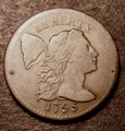 London Coins : A131 : Lot 587 : USA Cent 1795 Liberty Cap, Breen 1676, Sheldon 78, weighs 10.3 grammes, Weakly struc...