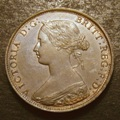 London Coins : A132 : Lot 1105 : Halfpenny 1869 Freeman 306 dies 7+G Toned UNC with minor cabinet friction, Rare in this high gra...