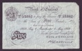 London Coins : A132 : Lot 149 : Five Pounds Catterns white dated 8 May 1929 serial 412/U 53382, MANCHESTER branch, creased a...