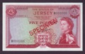 London Coins : A132 : Lot 414 : Jersey £5 Specimen, QE2 portrait, issued 1963 serial B000000, Clennet signature (s...