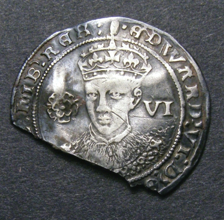 London Coins : A132 : Lot 648 : Sixpence Edward VI London S.2483 mintmark Tun NVF once bent and re-straightened and with approximate...
