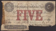 London Coins : A133 : Lot 2467 : Wolverhampton & Staffordshire Bank £5 cut cancelled dated 1877, serial No.1/4083 for D...