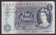London Coins : A133 : Lot 2870 : Five Pounds Page. B325. 05M 501451. Replacement. Fine.