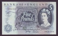 London Coins : A133 : Lot 2872 : Five Pounds Page. B325. 15M 011539. Replacement. Scarce. EF.