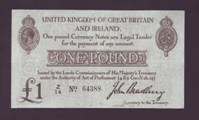 London Coins : A133 : Lot 3264 : One Pound Bradbury. T11/1. Z/14 64388. Near EF.