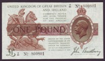 London Coins : A133 : Lot 3272 : One Pound Bradbury. T16. Control Note. Z/25 800801. Scarce. Near EF.