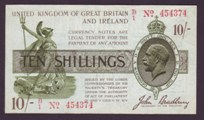 London Coins : A133 : Lot 3280 : Ten Shilling Bradbury. T20. B/1 454374. First prefix. Very scarce. Near EF.