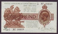London Coins : A133 : Lot 3286 : One Pound Fisher. B24. Z/83 394619. Control note. Near VF.