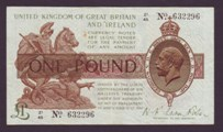 London Coins : A133 : Lot 3297 : One Pound Fisher. T31. Control Note. Z1/45 632296. VF.