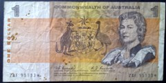London Coins : A133 : Lot 3307 : Australia $1 QE2 portrait issued 1968 signed Coombs/Randall star replacement  ZAF 95133*, Pi...