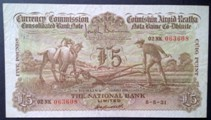 London Coins : A133 : Lot 3348 : Ireland National Bank  Currency Commission £5 ploughman dated 8-5-31 serial 02NK 063608, P...
