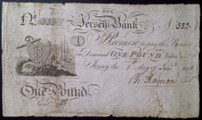 London Coins : A133 : Lot 3369 : Jersey Bank £1 dated 1st January 1814 No.332 manuscript signature of Ph. Hamon, (McCammon ...
