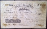London Coins : A133 : Lot 3430 : South Africa Colonial Bank of Natal £5 dated 1864 serial No.245, PickS432, stains &...