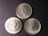 London Coins : A134 : Lot 1684 : Mis-Strike Sixpences (3) 1951, 1963, 1964 all struck off-centre and with raised lips around ...
