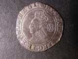 London Coins : A134 : Lot 1804 : Sixpence Elizabeth I Sixth Issue 1593 S.2578A bust 6B mintmark Tun Good Fine with grey tone