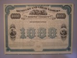 London Coins : A134 : Lot 78 : U.S.A., Kentucky and Great Easton Railway Co., unissued $1,000 gold bond, 1872&#...
