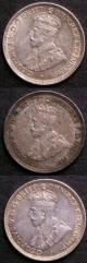 London Coins : A141 : Lot 651 : Australia Sixpences (3) 1911 GVF with a scratch on the obverse, 1919M VF, 1921 GVF