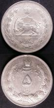 London Coins : A143 : Lot 975 : Iran (2) 5 Rials SH 1310 (1931) KM#1131GVF/NEF, and 5000 Dinars AH1320 (1902) KM#976 EF