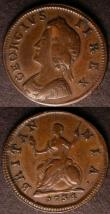 London Coins : A144 : Lot 1468 : Farthing 1734 No Stops on Obverse Peck 842, struck from the same dies as the Cooke collection exampl...