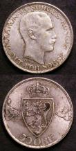 London Coins : A144 : Lot 656 : Norway 50 Ore (2) 1919 KM#374 GEF with flecks of golden tone, 1945 KM#386 Lustrous UNC the hole slig...