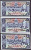 London Coins : A145 : Lot 192 : Scotland British Linen Bank £5 (3) all dated 23rd April 1968 series L/12, Walker signature, Pi...