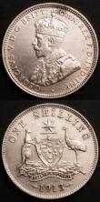 London Coins : A145 : Lot 546 : Australia (2) Shilling 1913 KM#26 GVF/NEF with a tone spot on the obverse rim, Penny 1917 I KM#23 NE...
