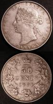London Coins : A145 : Lot 583 : Canada (2) 50 Cents 1871 KM#6 Good Fine or better with some scratches to the right of CENTS, 25 Cent...
