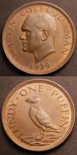 London Coins : A145 : Lot 687 : Lundy (2) Puffin 1929 S.7850 UNC, Half Puffin 1929 S.7851 UNC both with traces of lustre
