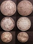 London Coins : A146 : Lot 3138 : Halfcrown 1746 LIMA ESC 606 Fine/Good Fine, Sixpence 1705 Plumes Late shield ESC 1584A Fine, the obv...