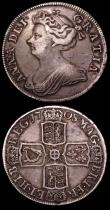London Coins : A150 : Lot 2446 : Halfcrowns (2) 1698 DECIMO ESC 554 Fine with some haymarking, 1708 SEPTIMO as ESC 576 with a J-style...