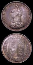 London Coins : A150 : Lot 2778 : Shillings (2) 1888 8 over 7 Davies 983 UNC and richly toned, 1898 ESC 1367 UNC and beautifully toned...