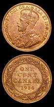 London Coins : A150 : Lot 906 : Canada (2) 5 Cents 1893 KM#2 GVF, One Cent 1914 KM#21 UNC or very near so and lustrous with minor ca...