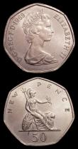 London Coins : A151 : Lot 1963 : Mint Errors- Mis-Strikes (2) Fifty Pence 1969 the collar slipped and rotated in striking thus edge t...