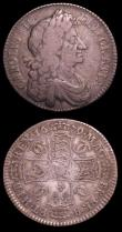 London Coins : A151 : Lot 2699 : Halfcrowns (2) 1679 ESC 481 approaching Fine with an old grey tone, comes with an old collector'...