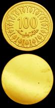 London Coins : A151 : Lot 891 : Tunisia 100 Millim 1960 Obverse and Reverse uniface trial pair,  struck in gold, design as KM#309, w...