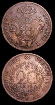 London Coins : A152 : Lot 1264 : Madeira 100 Reis 1802 I.W.Phelps &Co. countermarked F.I on the reverse Pascoal 79 Fine, Azores 2...