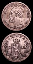 London Coins : A152 : Lot 1273 : Norway 1 Krone 1875 KM#351 About Fine, Rare, 50 Ore (2) 1875 KM#346 About Fine, 1885 KM#356 Fine