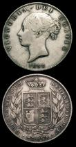 London Coins : A152 : Lot 2982 : Halfcrowns (2) 1848 unaltered date ESC , 1848 8 overstruck, possibly over another 8, all VG or sligh...