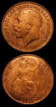 London Coins : A152 : Lot 3078 : Pennies (2) 1918H Freeman 183 dies 2+B NEF with some contact marks, possibly once cleaned, 1919H Fre...