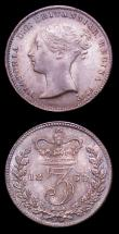 London Coins : A152 : Lot 3710 : Threepences (2) 1864 ESC 2071 EF/GEF and colourfully toned, 1865 ESC 2072 NEF with grey tone