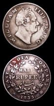 London Coins : A153 : Lot 2160 : India (2) Quarter Rupee 1835 No initials on truncation, 20 Berries, KM#448.3 NEF with signs of die r...