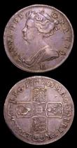 London Coins : A153 : Lot 3061 : Halfcrowns (2) 1708E Z-shaped 1 in the date, ESC 576 NVF with some small nicks and light haymarking,...