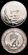 London Coins : A153 : Lot 838 : Churchill - Death of Churchill 1965 25mm diameter in base metal Lustrous UNC, 1965 Bicentenary of th...