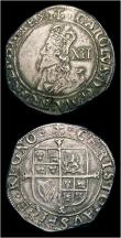 London Coins : A154 : Lot 1694 : Shillings (2) Charles I Group D, Fourth Bust, type 3a, no inner circles, Reverse round garnished shi...