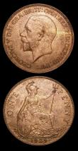 London Coins : A154 : Lot 2384 : Pennies (2) 1951 Freeman 252 dies 3+C Lustrous UNC with a light handling mark, 1929 Freeman 201 dies...