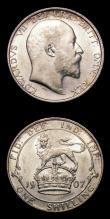 London Coins : A154 : Lot 2653 : Shillings (2) 1907 ESC 1416 GEF and lustrous with some light contact marks, 1914 ESC 1424 UNC and lu...