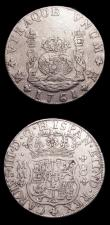 London Coins : A154 : Lot 868 : Mexico (2) 8 Reales 1761 Mo Tip of cross between H and I in legend KM#105 Fine, 2 Reales 1752 Mo KM#...